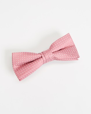 Tie Lab Bow & Pocket Square Squares White Pink Bow-Tie