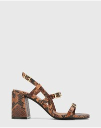 Wittner - Charlton Anaconda Print Leather Block Heel Sandals
