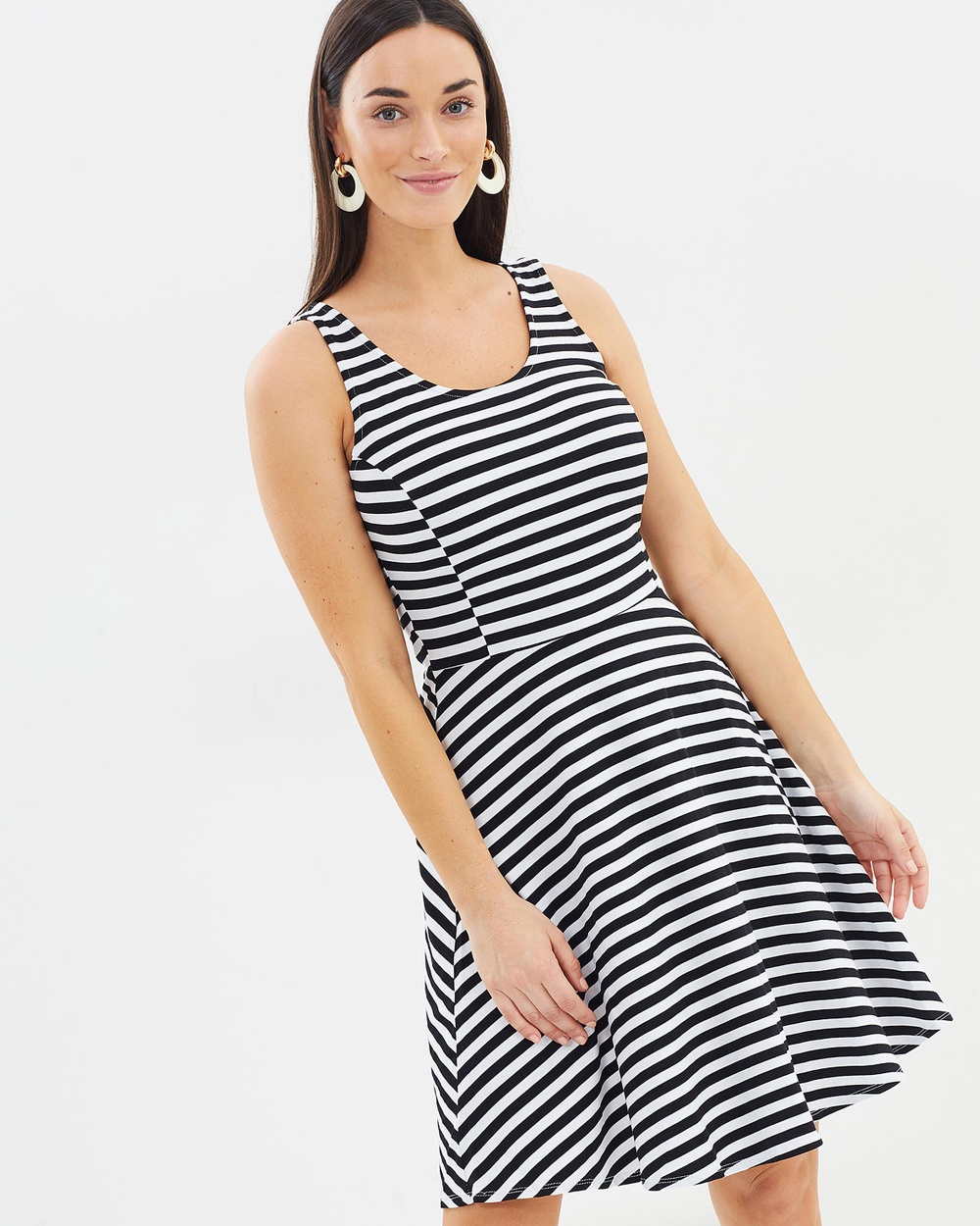 Dorothy Perkins Stripe Seam Fit And Flare Dress Dresses Black & White Stripe Seam Fit And Flare Dress