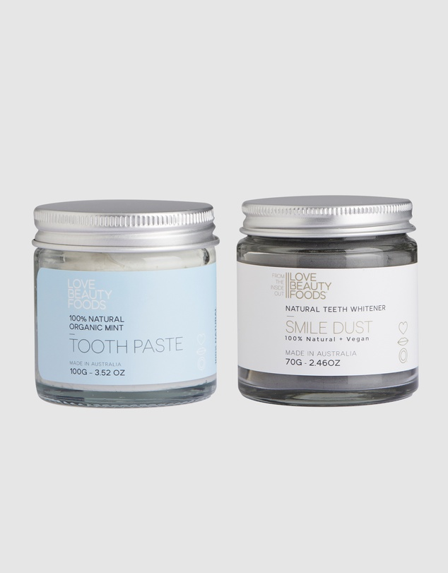 Love Beauty Foods - Organic Mint Toothpaste and Teeth Whitener Pack