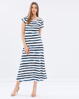 Polo Ralph Lauren – Striped Cap Sleeve Maxi Dress – Dresses (Blue Stripe)