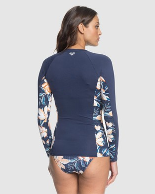 Roxy Womens Lilies Surf Long Sleeve UPF 50 Zipped Rash Vest - Swimwear (MOOD INDIGO HAPPY DA)