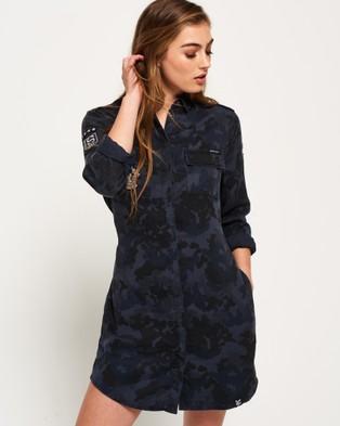 Superdry – Military Amber Shirt Dress NAVY CAMO