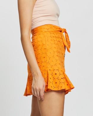 Glamorous Daisy Button Peplum Skirt - Skirts (Orange)