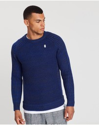 Scotch & Soda - Ams Blauw Regular Fit Crew Neck Multi-Melange Knit in Seasonal Shades