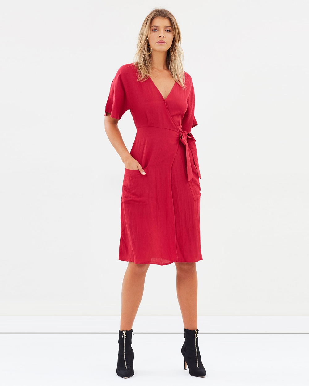 Atmos & Here ICONIC EXCLUSIVE Cheyenne Midi Dress Dresses Red ICONIC EXCLUSIVE Cheyenne Midi Dress