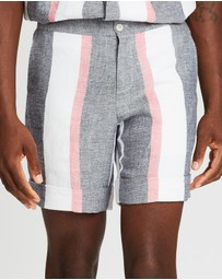 Casablanca - Jolie Striped Linen-Blend Shorts