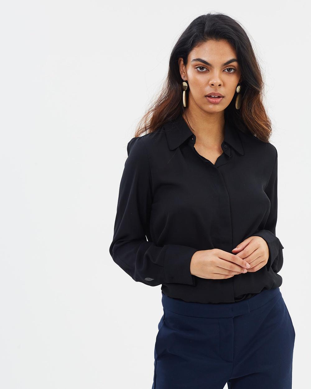M.N.G Basic Shirt Tops Black Basic Shirt