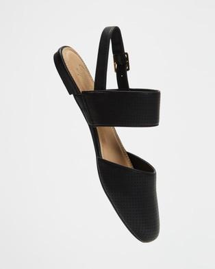 SPURR Malia Flats - Sandals (Black Smooth)