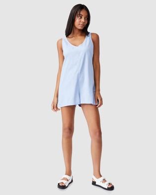 Cotton On Woven Jess Tie Back Romper - Jumpsuits & Playsuits (Powder Blue)