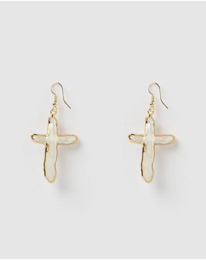 Miz Casa And Co Manifesto Cross Drop Earrings Gold Freshwater Pearl
