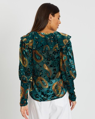 LENNI the label Firefly Burnout Blouse - Tops (Teal Paisley)