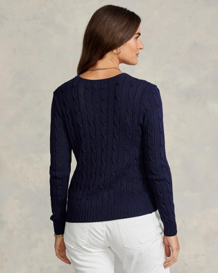 Polo Ralph Lauren Julianna Cotton Cable Crew Neck Sweater - Jumpers & Cardigans (Hunter Navy)
