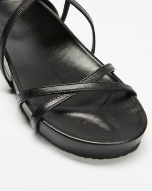 AERE Strappy Leather Footbed Sandals - Sandals (Black Leather)