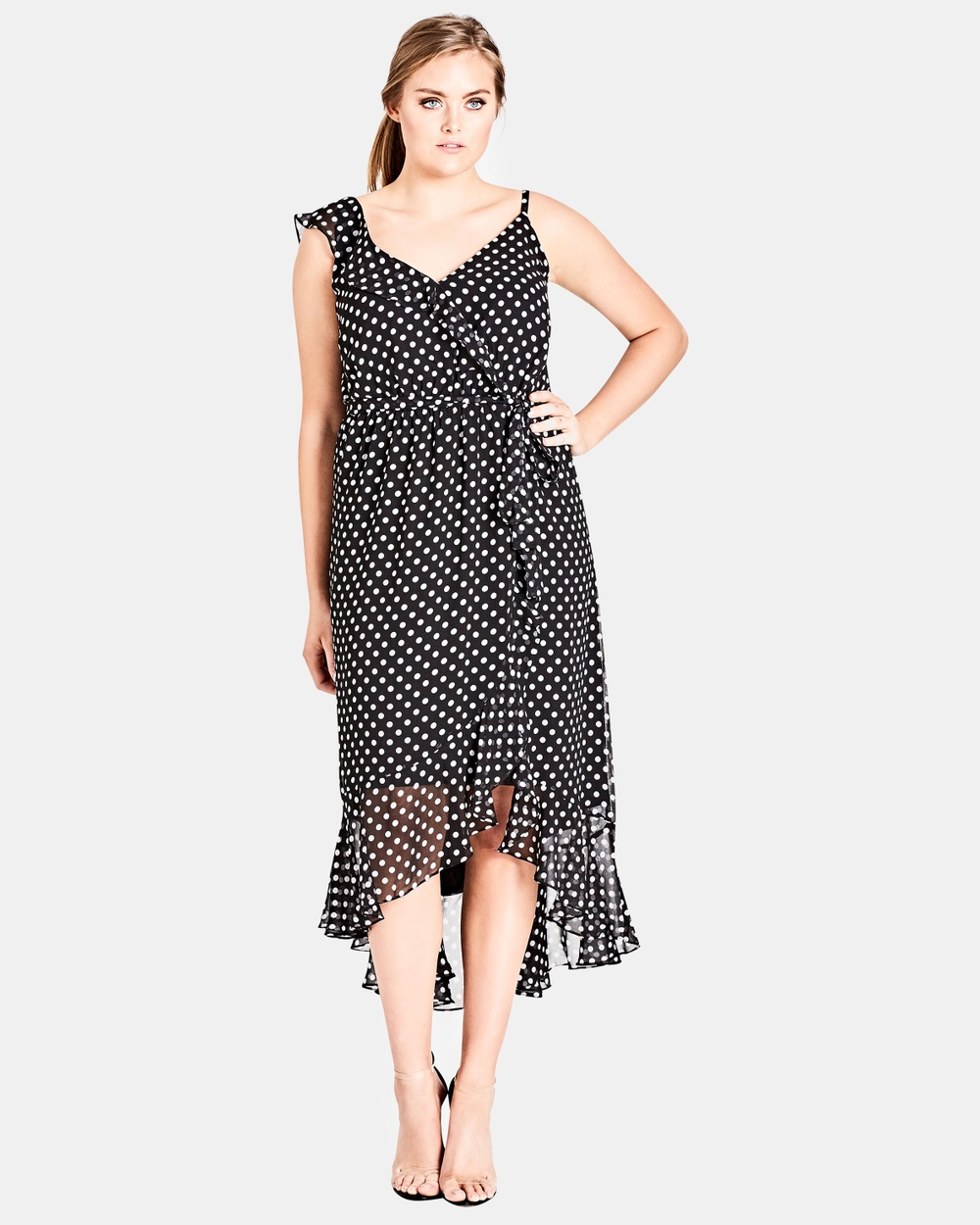City Chic Dot Spot Dress Printed Dresses White Spot Dot Spot Dress
