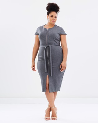 Atmos & Here Curvy – Janelle Ponte Body Con Dress – Bodycon Dresses (Charcoal)