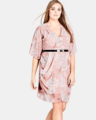 City Chic – Whimsy Wrap Dress – Printed Dresses Soft Whimsy