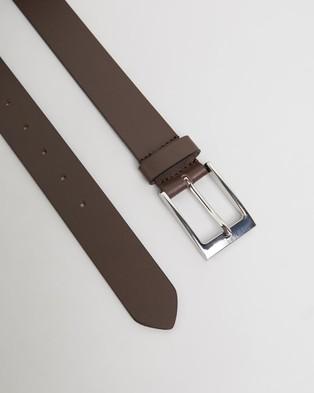 Double Oak Mills Smooth Leather 35mm Belt - Belts (Brown & Silver)