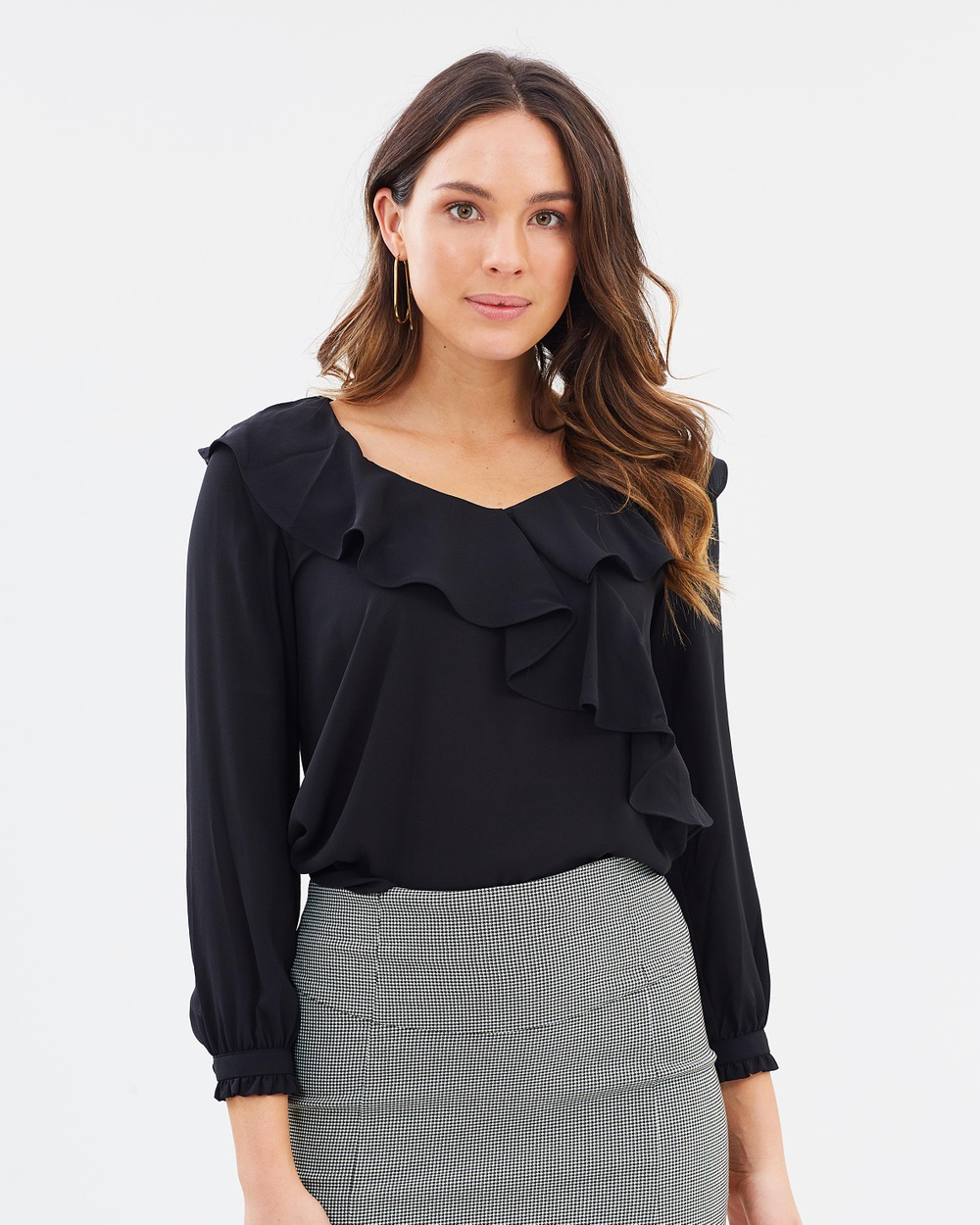 Forcast Kenia Frilled Blouse Tops Black Kenia Frilled Blouse