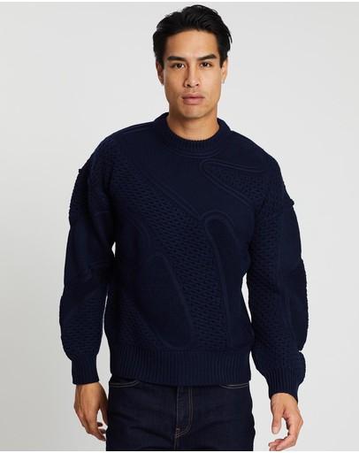 Cerruti 1881 Waffle-knit Wool Jumper Navy