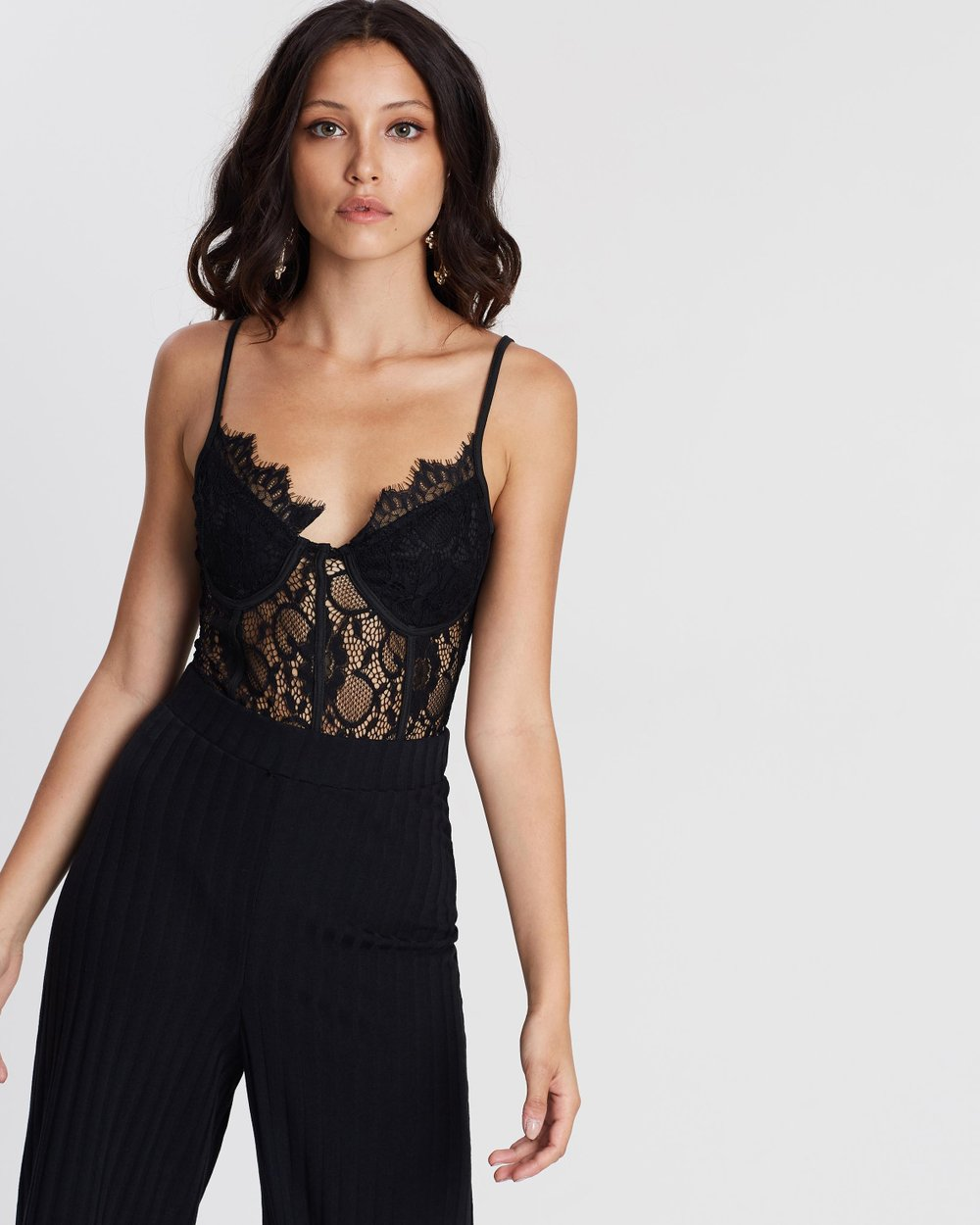 9bde5f325f82 Strappy Lace Cupped Panel Bodysuit by Missguided Online | THE ICONIC |  Australia