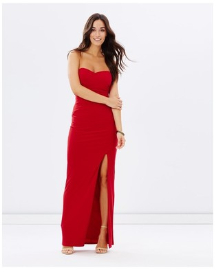 SKIVA Strapless Evening Dress with Split - Bridesmaid Dresses (Red)