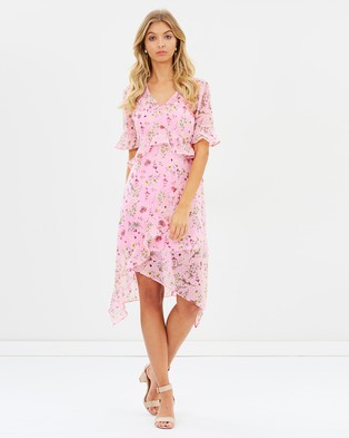 Miss Selfridge – Botanical Print Frill Midi Dress – Printed Dresses Pink