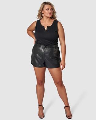 Sunday In The City Rift Shorts - Leather shorts (BLACK)