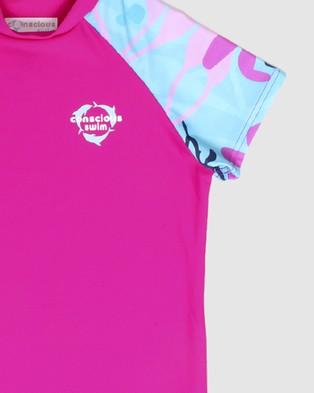 Conscious Swim - Short Sleeve Logo Rashie Girls Rash Suits (Magenta)