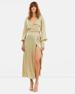 Isabelle Quinn – Elsa Wrap Dress Gold