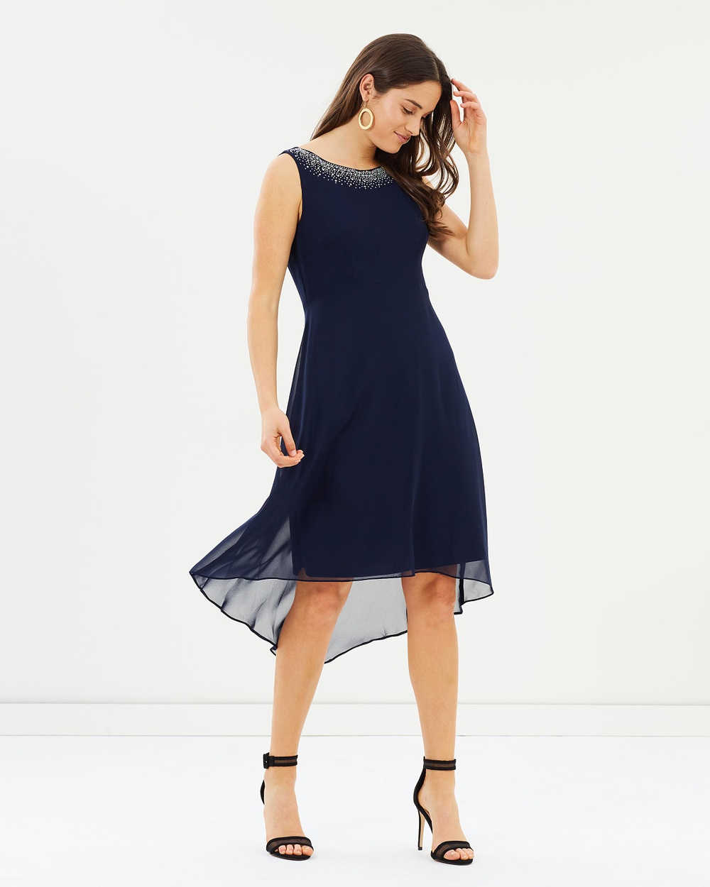 Wallis Hotfix Neck Asymmetrical Dress Dresses Navy Blue Hotfix Neck Asymmetrical Dress