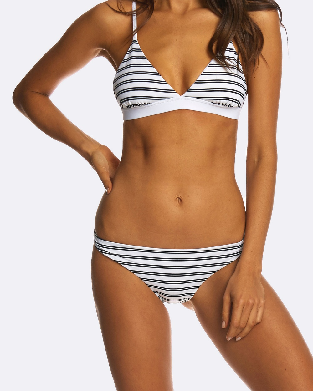 Photo of RH Swimwear RH Swimwear Cheeky Low Riser Bikini Bottoms Bikini Bottoms Double stripe Cheeky Low Riser Bikini Bottoms - The Cheeky Low Riser Bikini Bottoms from RH Swimwear are a flattering seamlessly constructed pant, with just the right amount of cheekiness! Here in a classic black and white Double stripe print, exclusive to the brand. Our model is wearing size XS bikini bottoms. She usually takes a standard AU 8, is 5' 11