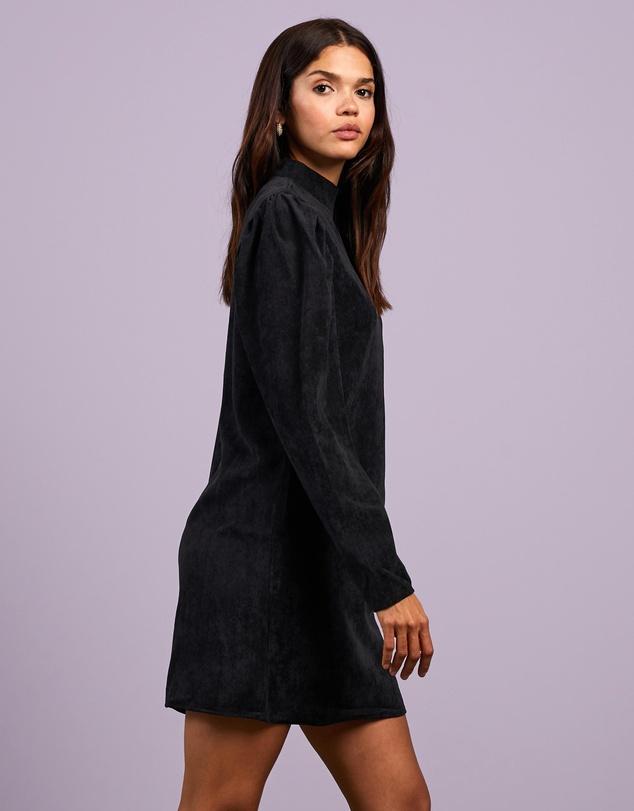 Women High Neck Shift Cord Dress