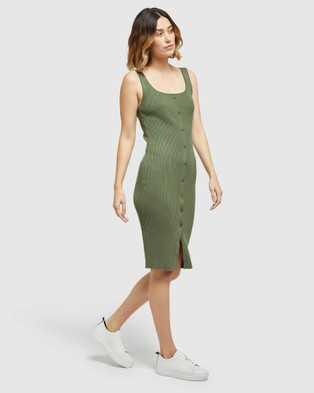 Oxford Robbie Knitted Stretch Dress - Bodycon Dresses (Green)