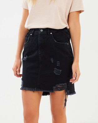 DRICOPER DENIM Worn Skirt - Denim skirts (Vintage Black)