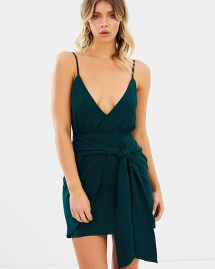 Atmos & Here – Stacey Plunge Mini Dress Forest Green