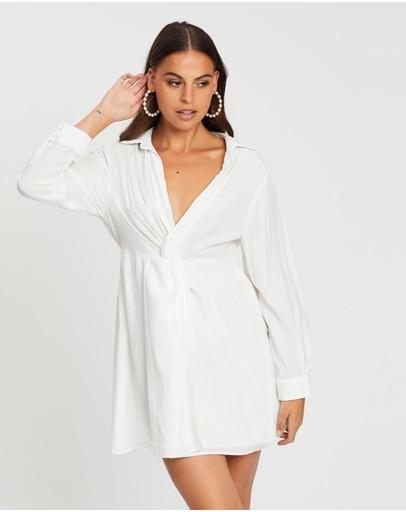 Dazie Step It Up Shirt Dress White