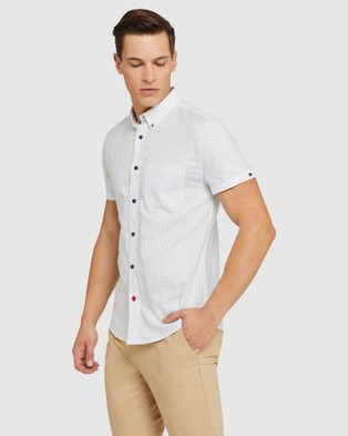 Oxford Tottenham Oxford Weave S s Shirt - Casual shirts (White)