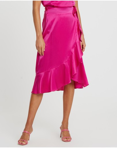 Damsel + Silk Core Wrap Midi Skirt Fuchsia