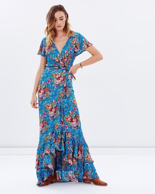 Auguste – Beach House Frill Wrap Maxi Dress – Dresses (Longbeach Floral Blue)