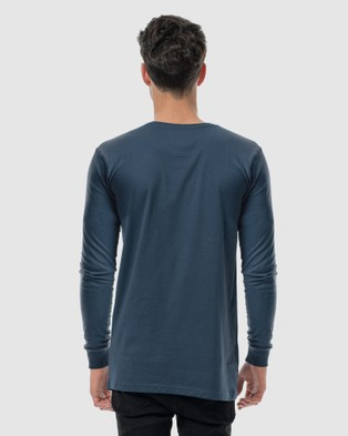 Australia DVNT Anchor Embroidery Long Sleeve Tee - Long Sleeve T-Shirts (INK)