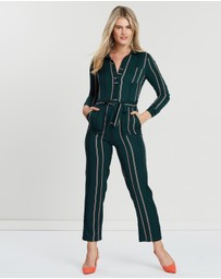 Miss Selfridge - Stripe LS Button-Through Pocket Jumpsuit