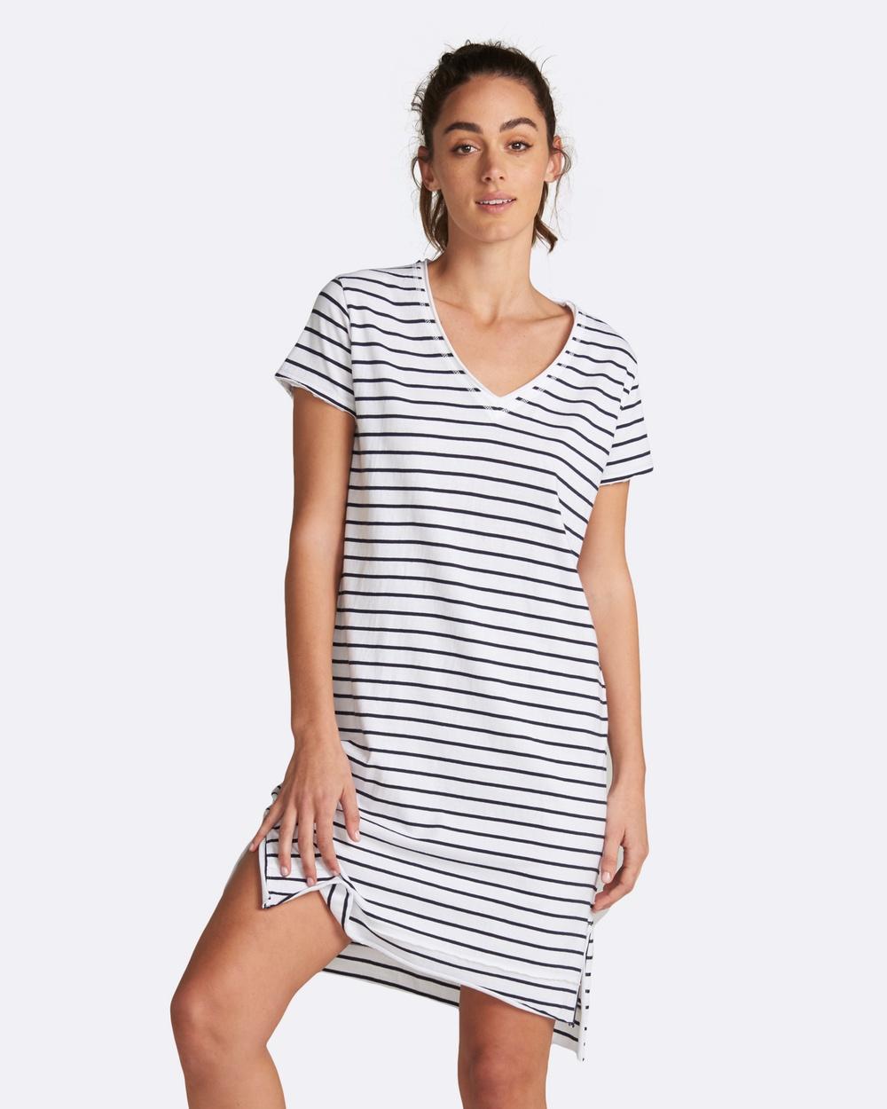 jac + mooki Mable Stripe Dress Dresses White Mable Stripe Dress
