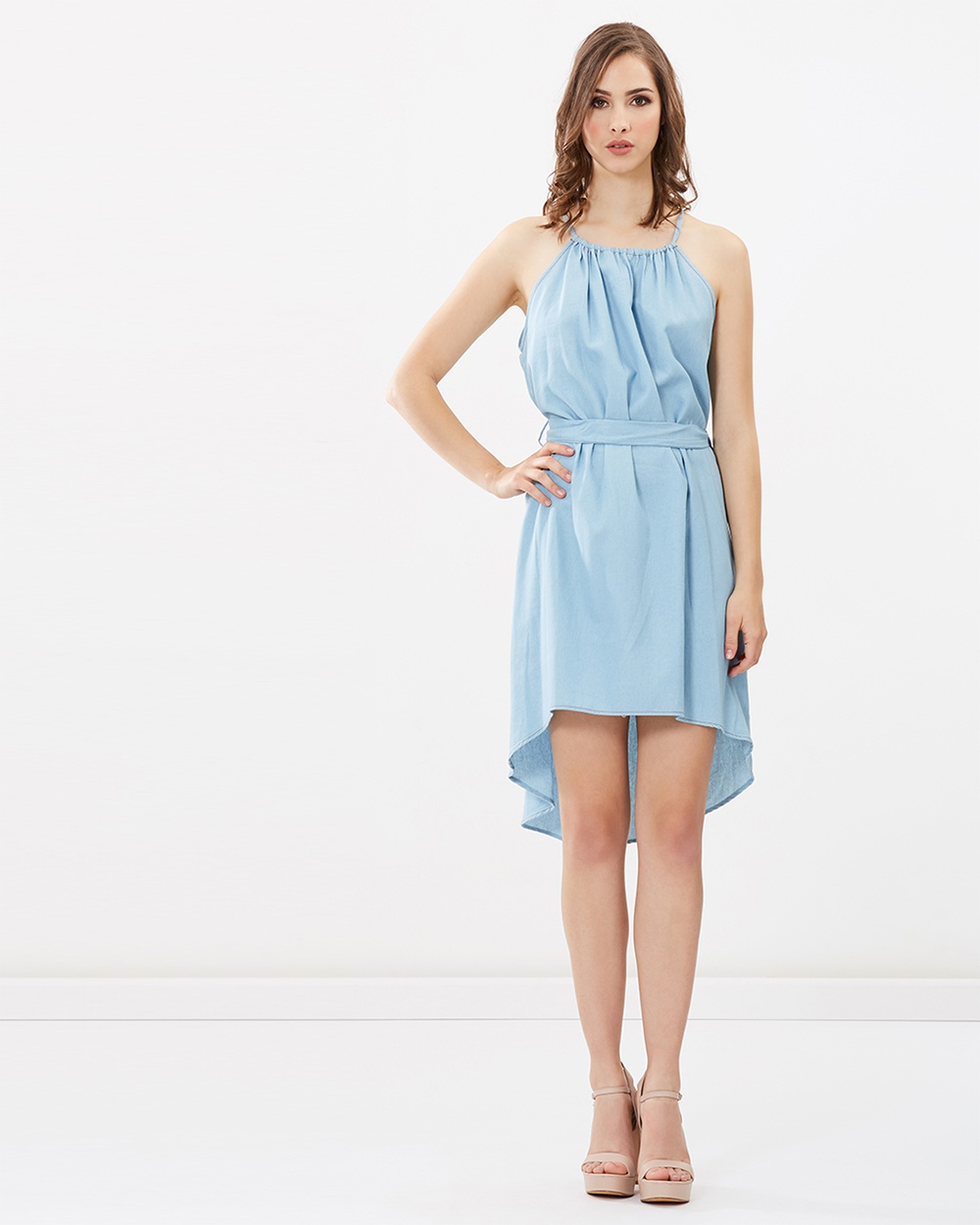 Honey and Beau Lara Tie Dress Dresses Light Blue Lara Tie Dress