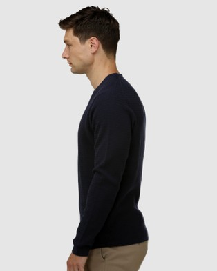Brooksfield Textured Core Crew Neck Sweater - Jumpers & Cardigans (Navy)