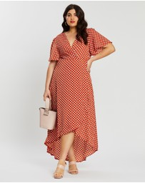 Missguided Curve - Polka Dot High-Low Wrap Midi Dress