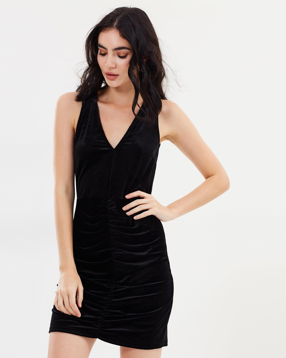 Dazie Cailla Velvet Tie Back Dress Bodycon Dresses Black Velvet Cailla Velvet Tie Back Dress