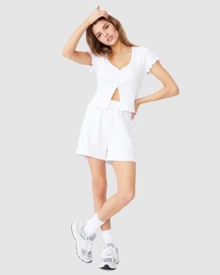 Factorie Short Sleeve Lettuce Cardi - Jumpers & Cardigans (White)