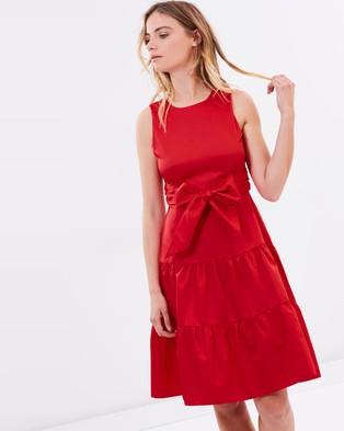 Closet London – Red Tie Waist Dress Red