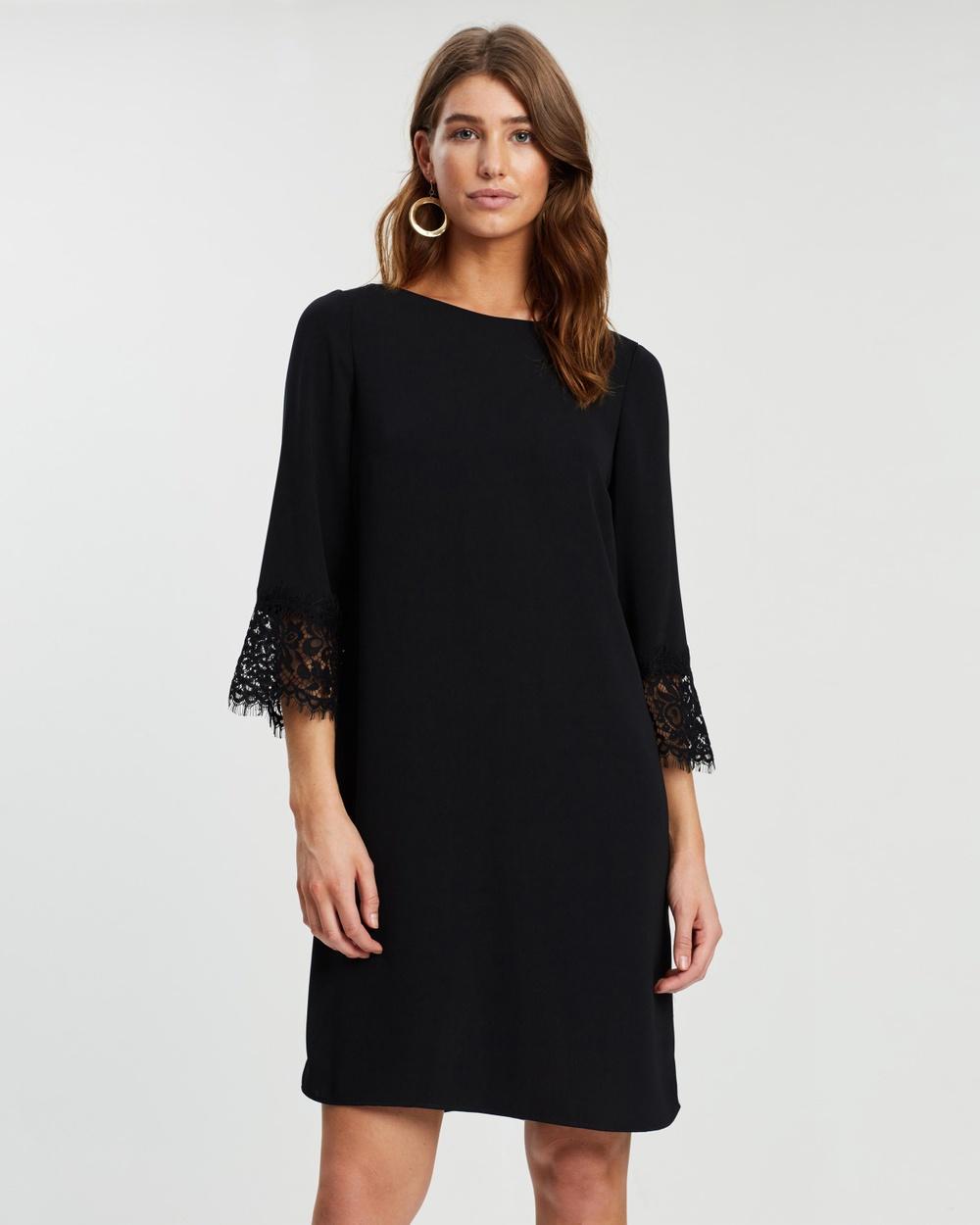Wallis Black Lace Cuff Shift Dress
